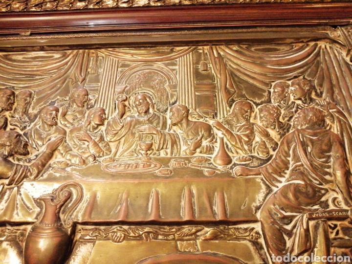 Arte: Placa cuadro de la última cena en cobre enmarcado - Foto 2 - 190163075