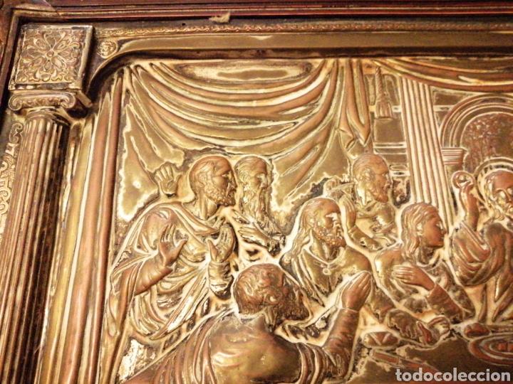 Arte: Placa cuadro de la última cena en cobre enmarcado - Foto 5 - 190163075