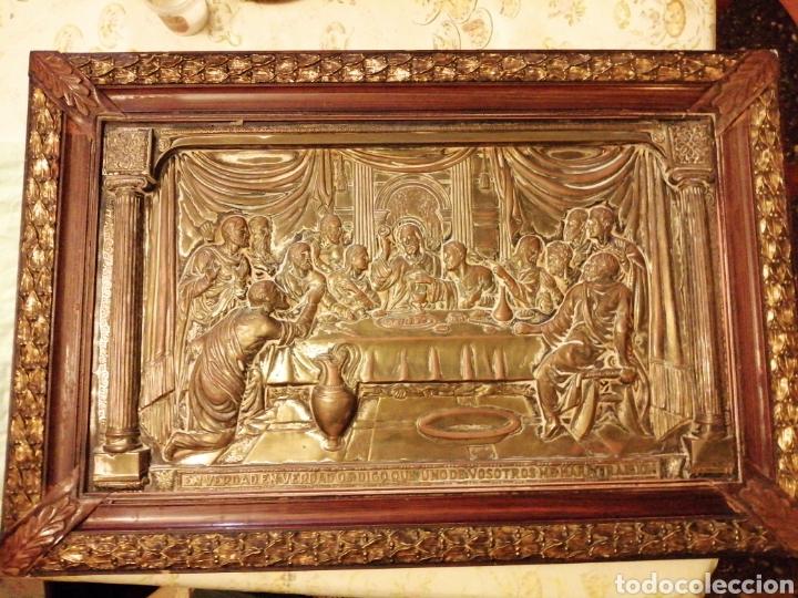 PLACA CUADRO DE LA ÚLTIMA CENA EN COBRE ENMARCADO (Arte - Arte Religioso - Iconos)