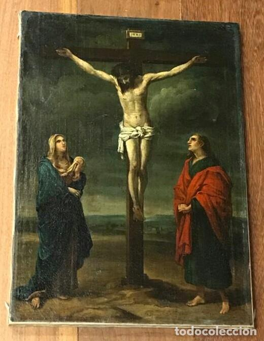 Arte: ESCUELA ESPAÑOLA SIGLO XVII. CALVARIO. LIENZO 40X29. MARCO EXCEPCIONAL. - Foto 2 - 94703711