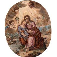 Arte: GRABADO RELIGIOSO CON ESCENA DE SAN JOSE. SIGLO XIX. Lote 190210690