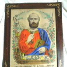 Arte: SAN PEDRO DE LA PASIÓN PRIMER PAPA DE ROMA, GRABADO COLOREADO A MANO DEL S XIX. MED 31 X 40 CM. Lote 190274732