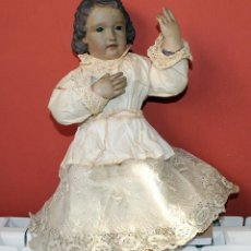 Arte: ANTIGUO NIÑO JESUS CAP I POTA - IMAGEN VESTIDERA - 34CM - MADERA . Lote 190339257