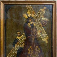 Arte: CUADRO AL OLEO DEL CRISTO CARGANDO LA CRUZ ACOMPAÑADO DE SAN SIMON CIRINEO. Lote 190342016
