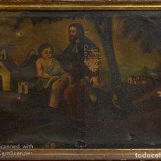 Arte: CUADRO DE SANTO TOMAS SANANDO LA PIERNA DE JESUS.. Lote 190342390