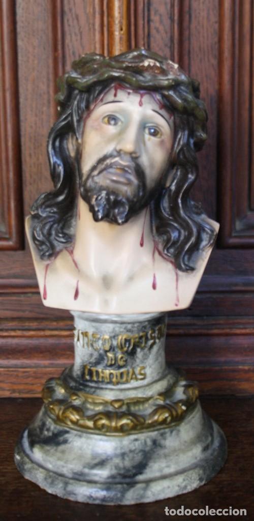 BUSTO SANTO CRISTO DE LIMPIAS, ESCAYOLA POLICROMADA CON BASE DE MADERA, OJOS DE CRISTAL OLOT (Arte - Arte Religioso - Escultura)