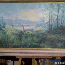 Arte: PAISAJE CON MUJER. Lote 190385895