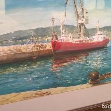 Arte: PINTURA A LA AGUADA. BUQUE EN MALECÓN DE PUERTO. Lote 190478061