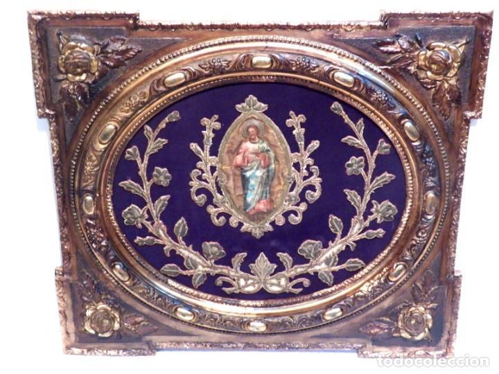 ANTIGUO BORDADO XVIII, BORDADO ENMARCADO, CORAZÓN DE JESÚS, BORDADO RELIGIOSO, BORDADO CON HILO ORO (Arte - Arte Religioso - Pintura Religiosa - Otros)