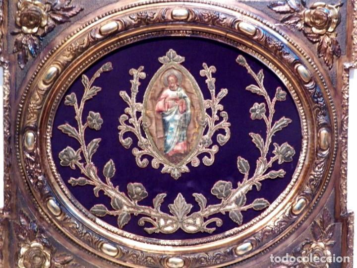 Arte: Antiguo Bordado XVIII, Bordado Enmarcado, Corazón de Jesús, Bordado Religioso, Bordado con Hilo Oro - Foto 2 - 190511297