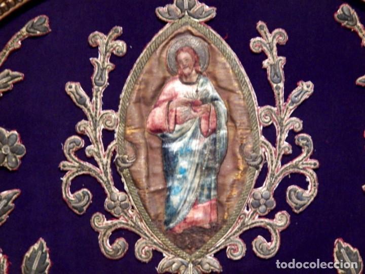 Arte: Antiguo Bordado XVIII, Bordado Enmarcado, Corazón de Jesús, Bordado Religioso, Bordado con Hilo Oro - Foto 3 - 190511297