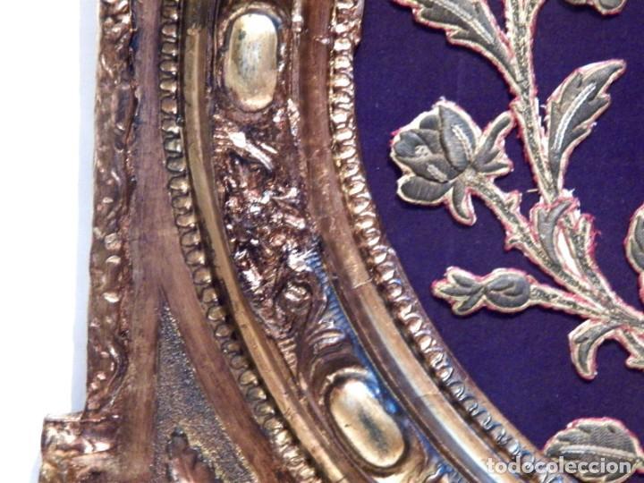 Arte: Antiguo Bordado XVIII, Bordado Enmarcado, Corazón de Jesús, Bordado Religioso, Bordado con Hilo Oro - Foto 6 - 190511297