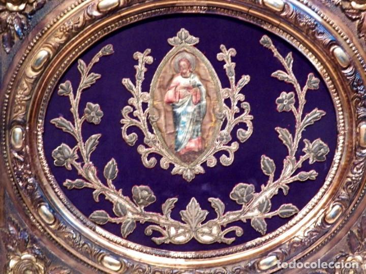 Arte: Antiguo Bordado XVIII, Bordado Enmarcado, Corazón de Jesús, Bordado Religioso, Bordado con Hilo Oro - Foto 7 - 190511297