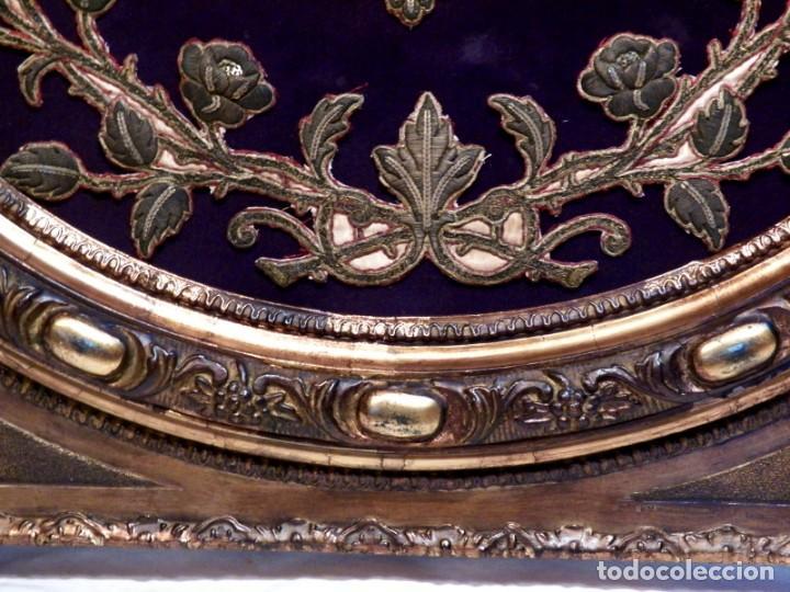 Arte: Antiguo Bordado XVIII, Bordado Enmarcado, Corazón de Jesús, Bordado Religioso, Bordado con Hilo Oro - Foto 9 - 190511297