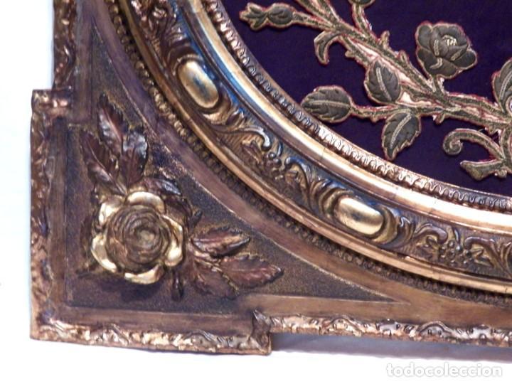 Arte: Antiguo Bordado XVIII, Bordado Enmarcado, Corazón de Jesús, Bordado Religioso, Bordado con Hilo Oro - Foto 11 - 190511297