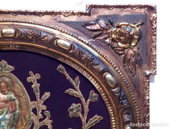 Arte: Antiguo Bordado XVIII, Bordado Enmarcado, Corazón de Jesús, Bordado Religioso, Bordado con Hilo Oro - Foto 12 - 190511297