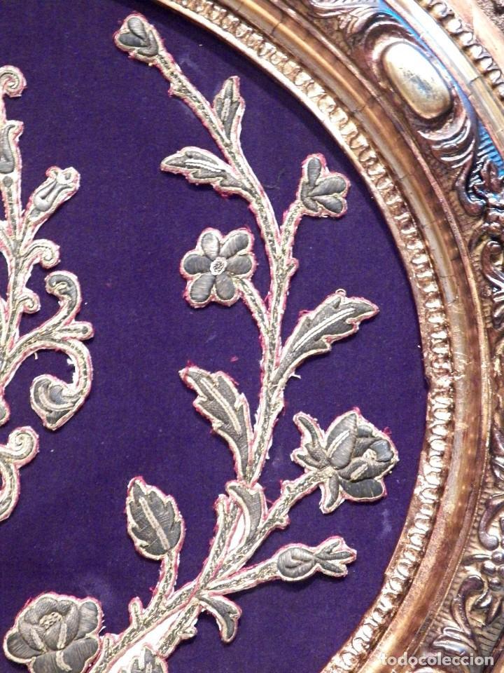Arte: Antiguo Bordado XVIII, Bordado Enmarcado, Corazón de Jesús, Bordado Religioso, Bordado con Hilo Oro - Foto 13 - 190511297