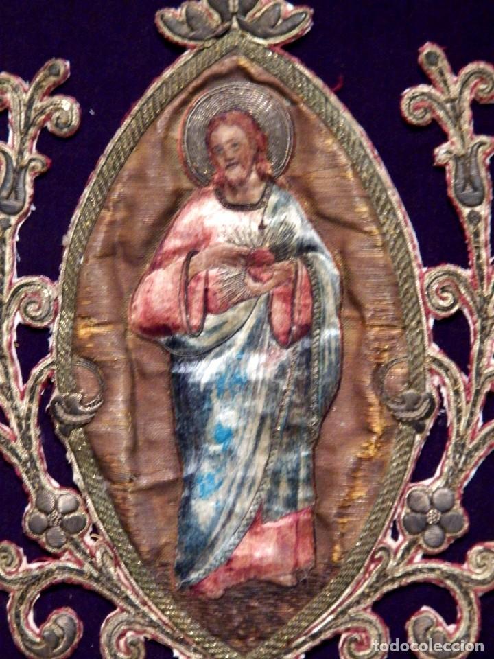 Arte: Antiguo Bordado XVIII, Bordado Enmarcado, Corazón de Jesús, Bordado Religioso, Bordado con Hilo Oro - Foto 14 - 190511297