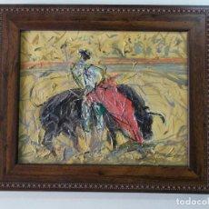 Arte: OLEO DE TOROS, FIRMADO POR EL AUTOR. Lote 190581313