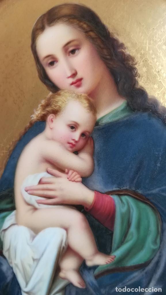 Arte: TRIPTICO ESMALTE DE LA VIRGEN MARIA Y JESUS CON MADERA TALLADA - Foto 8 - 190712648