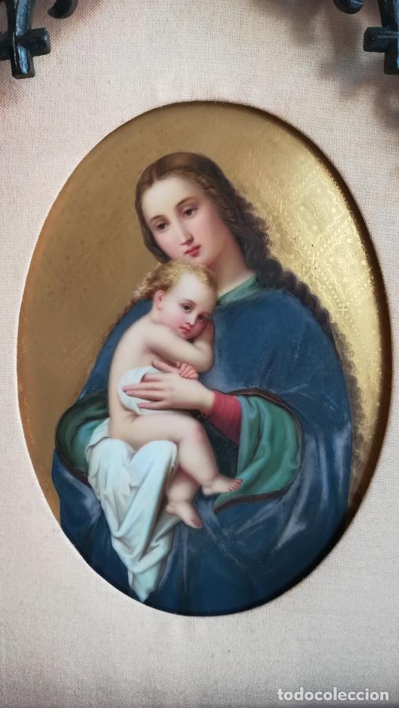 TRIPTICO ESMALTE DE LA VIRGEN MARIA Y JESUS CON MADERA TALLADA (Arte - Arte Religioso - Pintura Religiosa - Otros)
