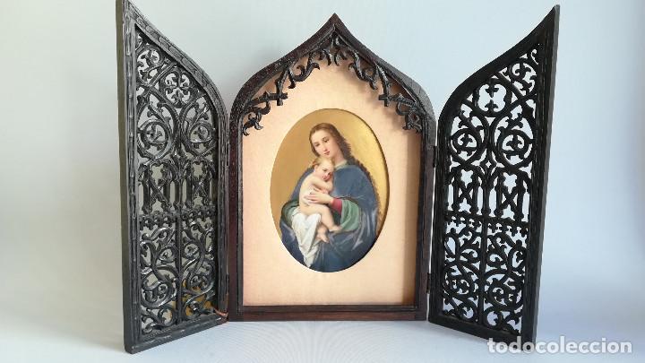 Arte: TRIPTICO ESMALTE DE LA VIRGEN MARIA Y JESUS CON MADERA TALLADA - Foto 3 - 190712648