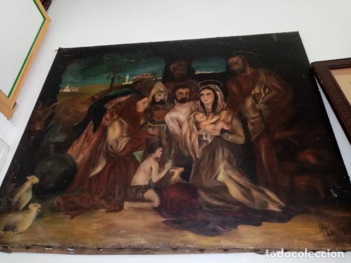 CUADRO ANTIGUO PINTADO AL OLEO (Arte - Arte Religioso - Pintura Religiosa - Oleo)