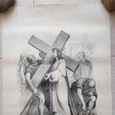 Arte: GRABADO LITOGRAFICO. VIA CRUCIS. JESUS CARGANDO CON LA CRUZ A CUESTAS. SIGLO XIX. PARIS, L TURGIS. W. Lote 190733027