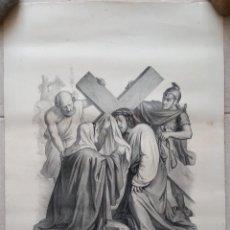 Arte: GRABADO LITOGRAFICO. VIA CRUCIS. JESUS IMPRESO SU ROSTRO EN UN PAÑO. SIGLO XIX. PARIS, L TURGIS. W. Lote 190733186