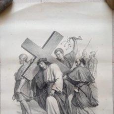 Arte: GRABADO LITOGRAFICO. VIA CRUCIS. EL CINEREO AYUDA A JESUS. SIGLO XIX. PARIS, L TURGIS. W. Lote 190733391