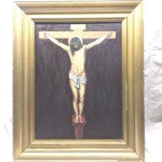 Arte: CRISTO CRUCIFICADO PINTURA AL OLEO CÓPIA VELAZQUEZ FIRMADO JAIME AREVALO AÑO 1941. MED. 48 X 60 CM. Lote 190752970