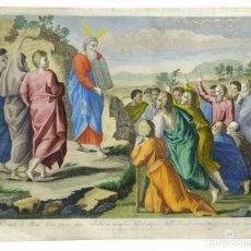 Arte: 1770CA - GRAN GRABADO COLOREADO - RAFAEL SANZIO PAROLI Y SANTACH - TABLAS DE LA LEY / MONTE SINAÍ. Lote 190799886