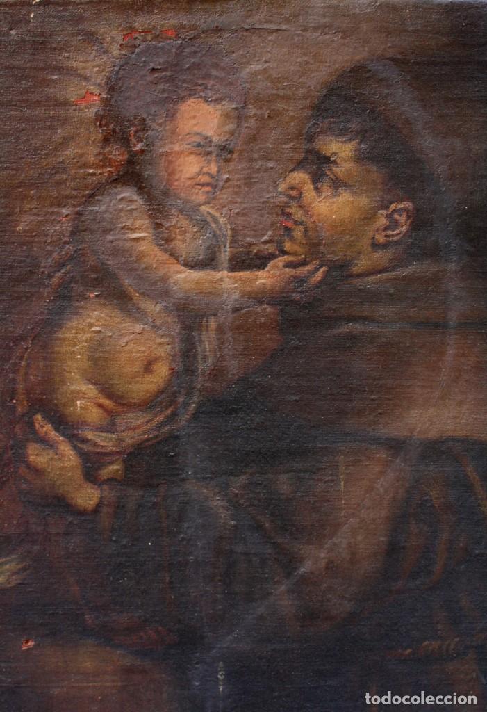 Arte: Santo y niño Jesús, pintura al óleo sobre tela, sin marco. 64x59cm - Foto 2 - 190816867