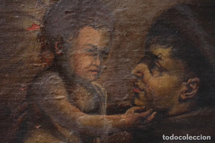 Arte: Santo y niño Jesús, pintura al óleo sobre tela, sin marco. 64x59cm - Foto 3 - 190816867