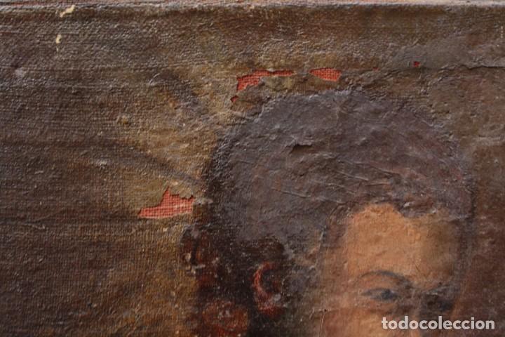 Arte: Santo y niño Jesús, pintura al óleo sobre tela, sin marco. 64x59cm - Foto 4 - 190816867