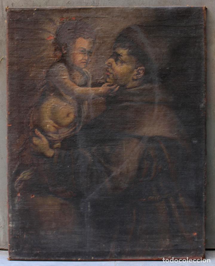 SANTO Y NIÑO JESÚS, PINTURA AL ÓLEO SOBRE TELA, SIN MARCO. 64X59CM (Arte - Arte Religioso - Pintura Religiosa - Oleo)