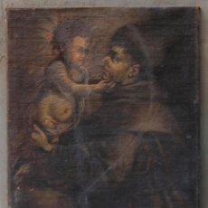 Arte: SANTO Y NIÑO JESÚS, PINTURA AL ÓLEO SOBRE TELA, SIN MARCO. 64X59CM. Lote 190816867