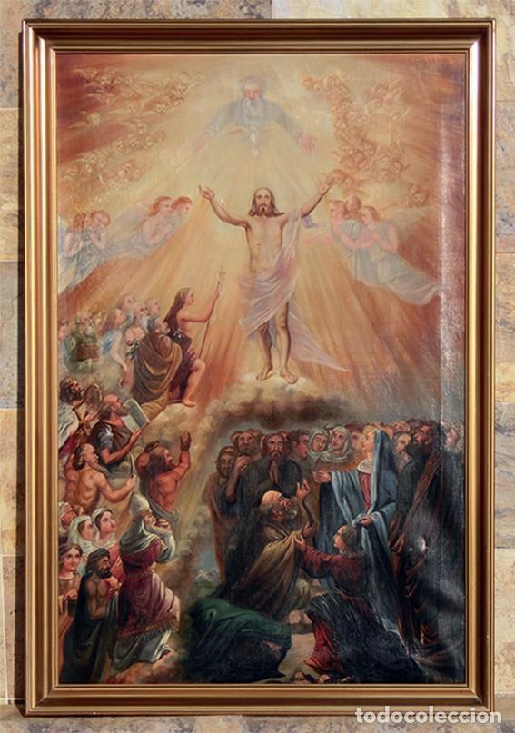 Arte: IMPORTANTE OBRA RELIGIOSA - EMILIA CARMENA DE PROTA - AÑO 1858 - ÓLEO SOBRE LIENZO - ASCENSIÓN S.XIX - Foto 2 - 190824018