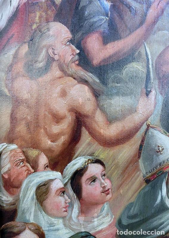 Arte: IMPORTANTE OBRA RELIGIOSA - EMILIA CARMENA DE PROTA - AÑO 1858 - ÓLEO SOBRE LIENZO - ASCENSIÓN S.XIX - Foto 4 - 190824018