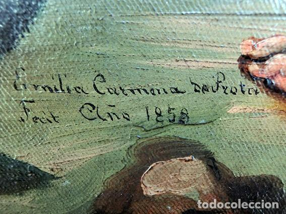 Arte: IMPORTANTE OBRA RELIGIOSA - EMILIA CARMENA DE PROTA - AÑO 1858 - ÓLEO SOBRE LIENZO - ASCENSIÓN S.XIX - Foto 15 - 190824018