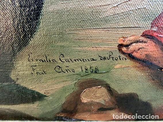 Arte: IMPORTANTE OBRA RELIGIOSA - EMILIA CARMENA DE PROTA - AÑO 1858 - ÓLEO SOBRE LIENZO - ASCENSIÓN S.XIX - Foto 41 - 190824018