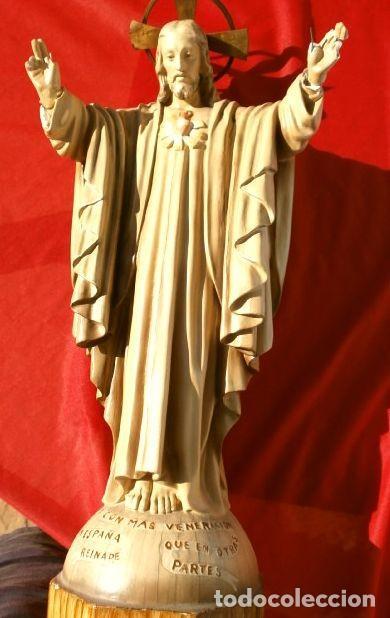 Arte: Antigua IMAGEN SAGRADO CORAZON 47 CM ALTO - CRISTO REDENTOR - ESTUCO - MARCA DIMOSA OLOT - Foto 12 - 190826602