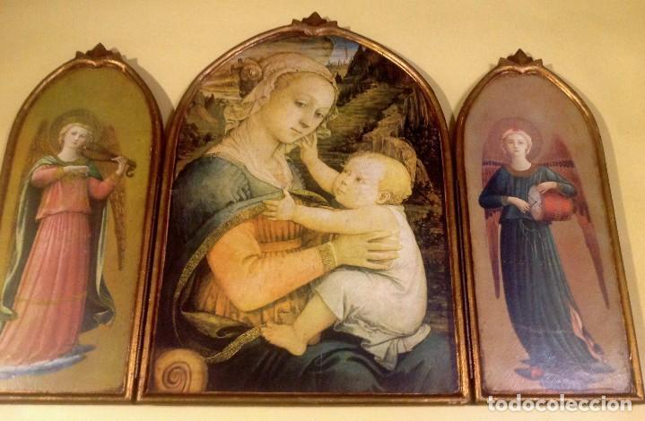 Arte: Tríptico Religioso De Madera 74CMX53CM - Foto 2 - 190849251