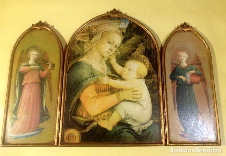 Arte: Tríptico Religioso De Madera 74CMX53CM - Foto 3 - 190849251