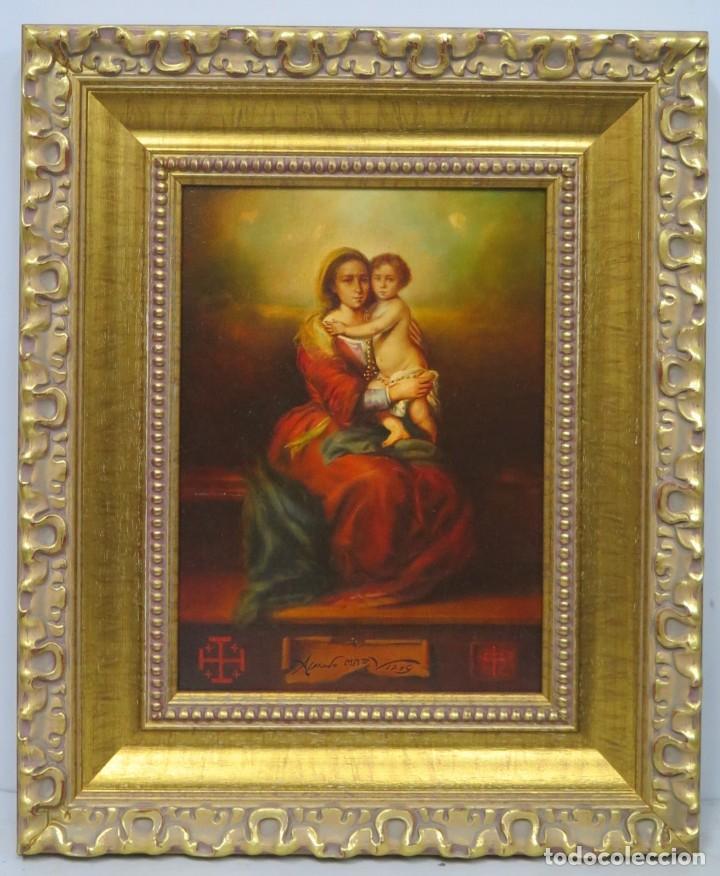 COPIA VIRGEN DE MURILLO. CON CRUCES DE LA ORDEN DEL SANTO SEPULCRO. ALFREDO VIÑAS (Arte - Arte Religioso - Pintura Religiosa - Oleo)