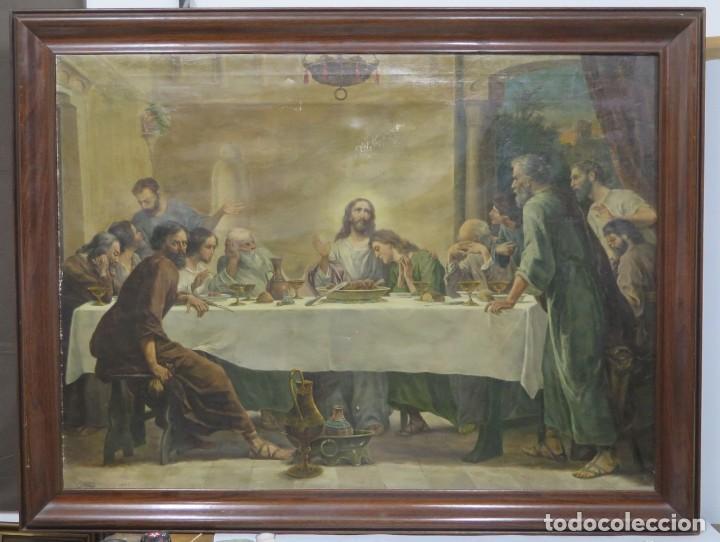 MAGNIFICA ULTIMA CENA. OLEO S/ LIENZO. J. FLORES. 1921. ESCUELA ESPAÑOLA (Arte - Arte Religioso - Pintura Religiosa - Oleo)