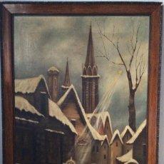 Arte: ÓLEO RELIGIOSO S . XIX ANGEL DE LA GUARDIA,FIRMADO. Lote 190932202