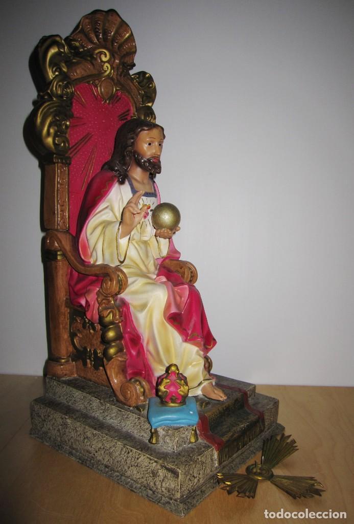 Arte: Cristo Redentor, Cristo Rey Trono, Sagrado Corazón de Jesús entronizado Olot principios s XX - Foto 10 - 191066807