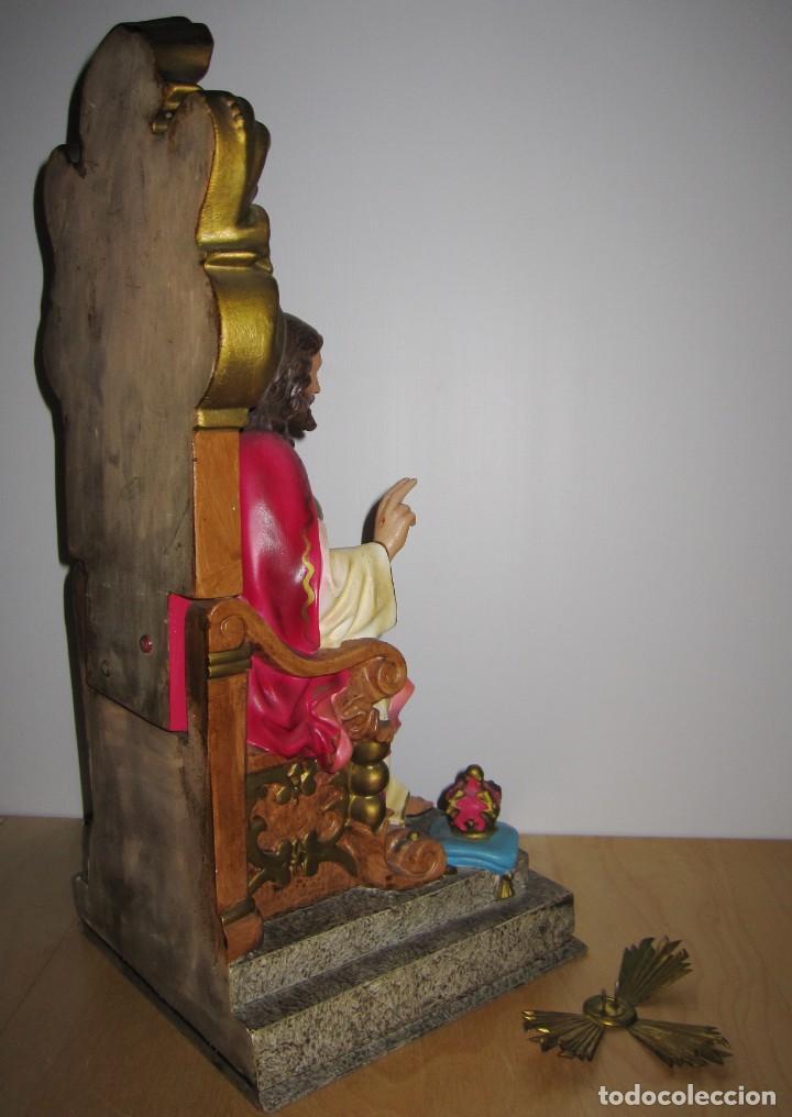 Arte: Cristo Redentor, Cristo Rey Trono, Sagrado Corazón de Jesús entronizado Olot principios s XX - Foto 14 - 191066807