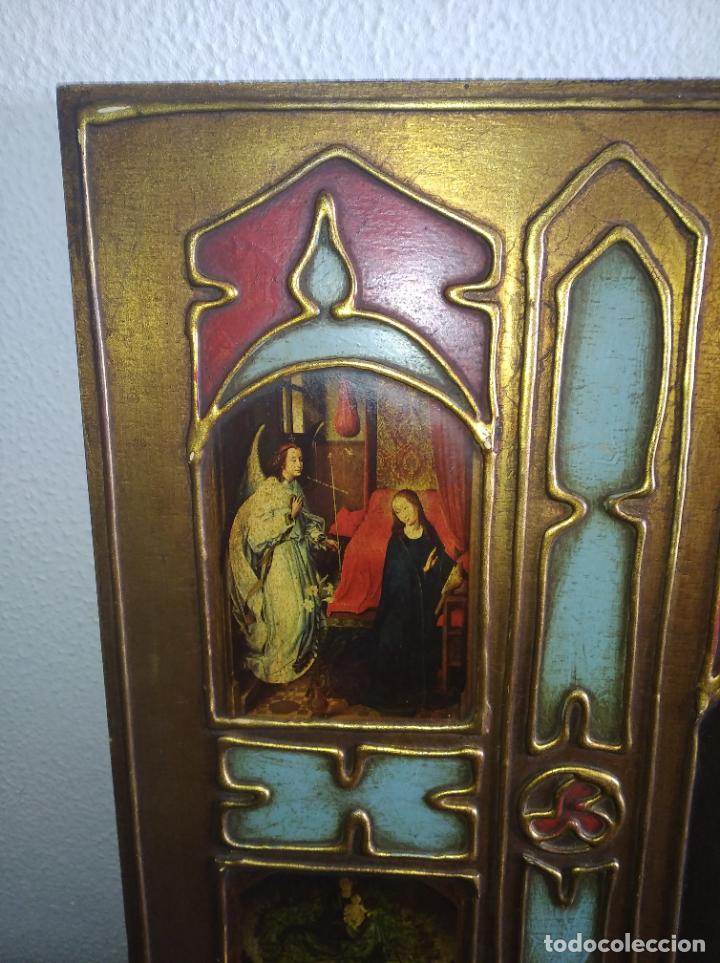 Arte: Antiguo Cuadro con imágenes motivos religiosos virgen Jesús señor vintage tríptico? - Foto 2 - 191115928